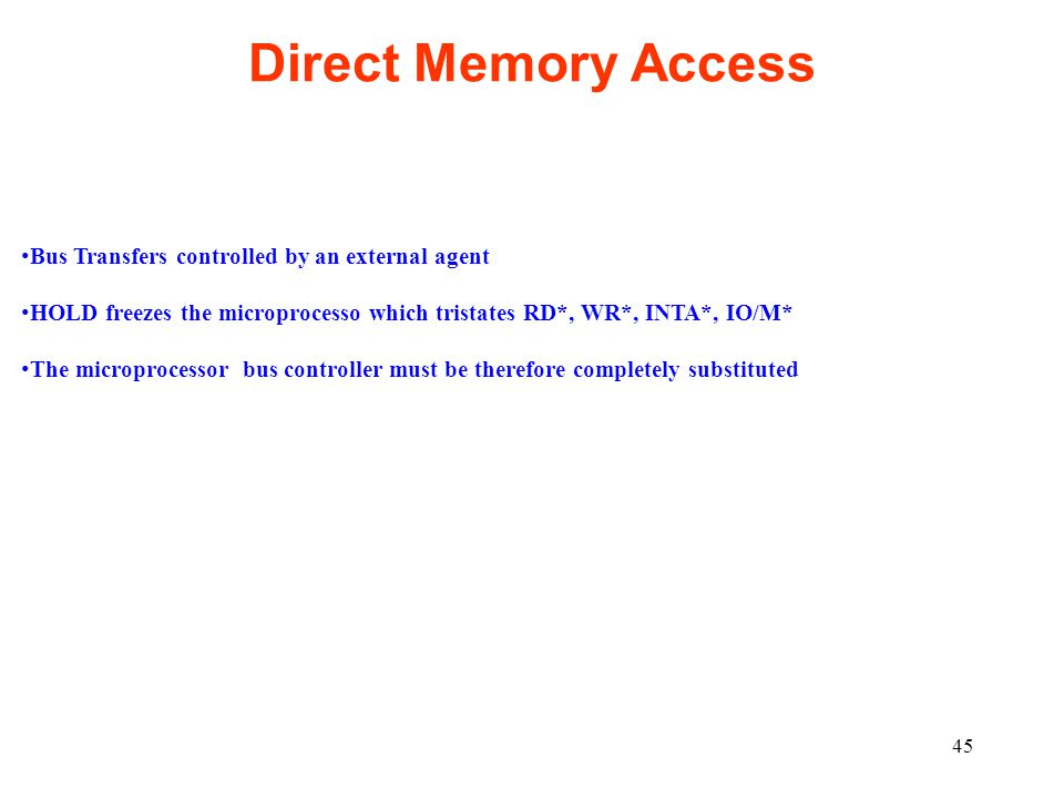 Direct Memory Access Bus Transfers controlled by an external agent