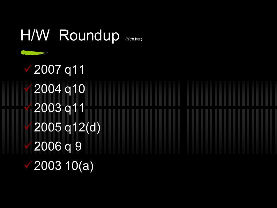 H/W Roundup (Yeh har) 2007 q11 2004 q10 2003 q11 2005 q12(d) 2006 q 9