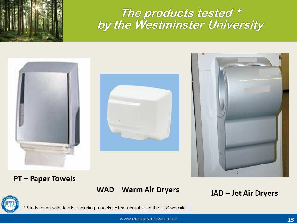 The products tested * by the Westminster University