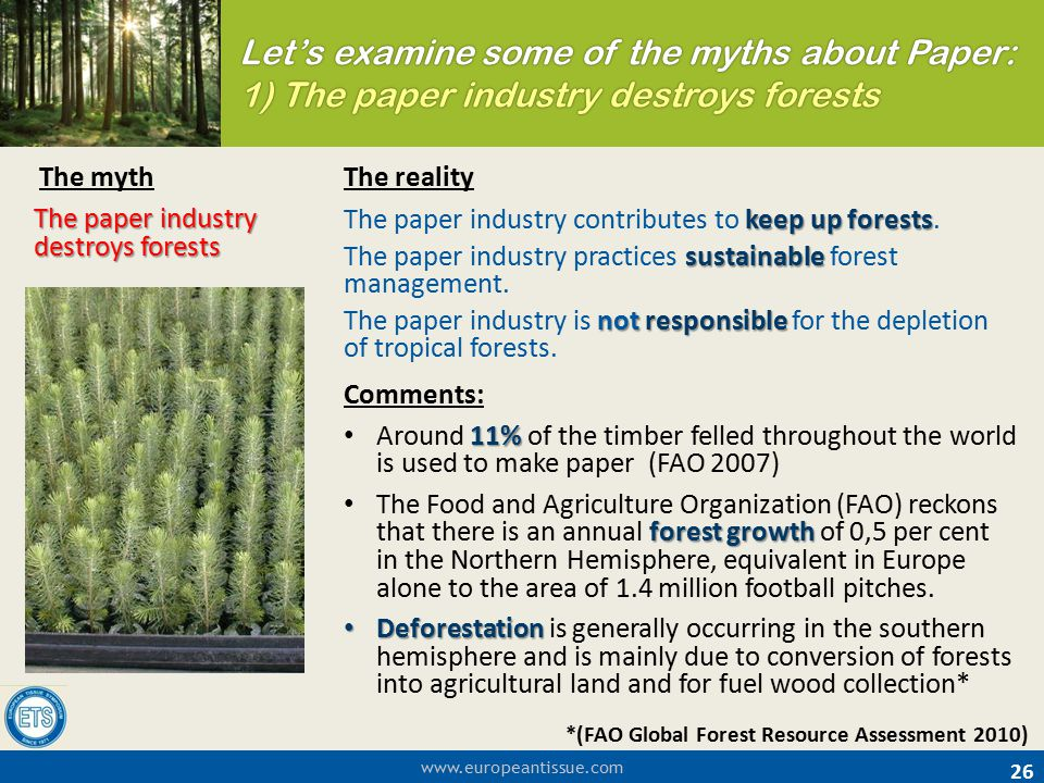 Let's examine some of the myths about Paper: 1) The paper industry destroys forests