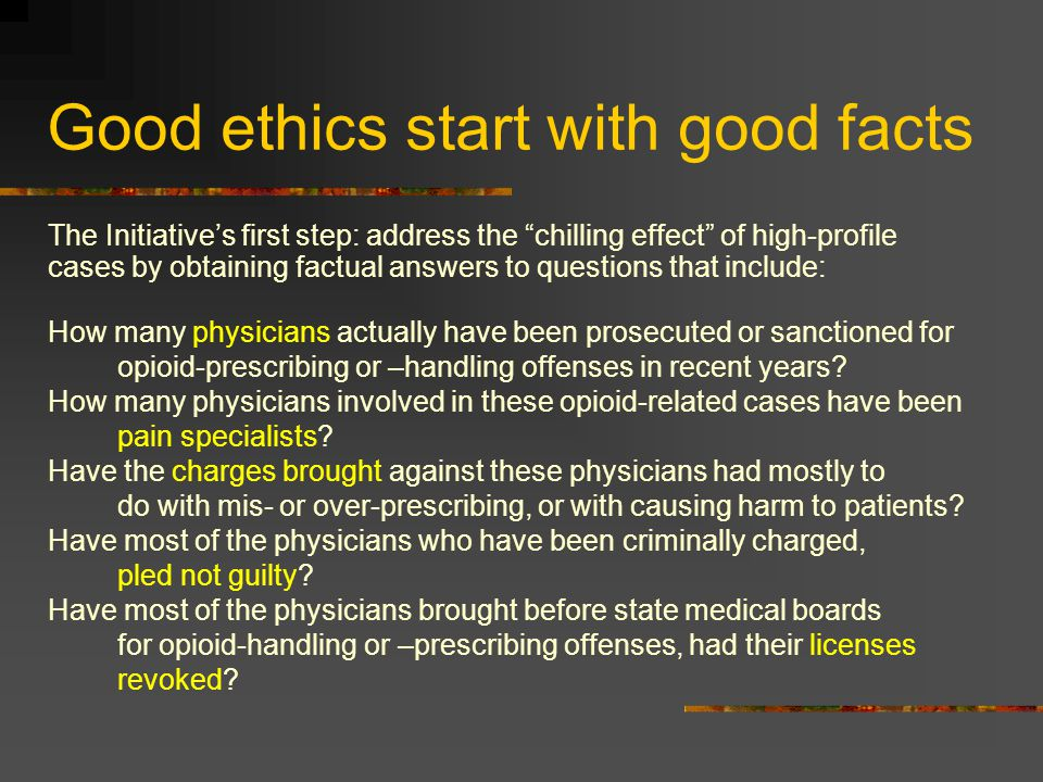 Good ethics start with good facts