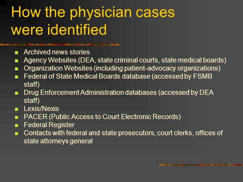 How the physician cases were identified