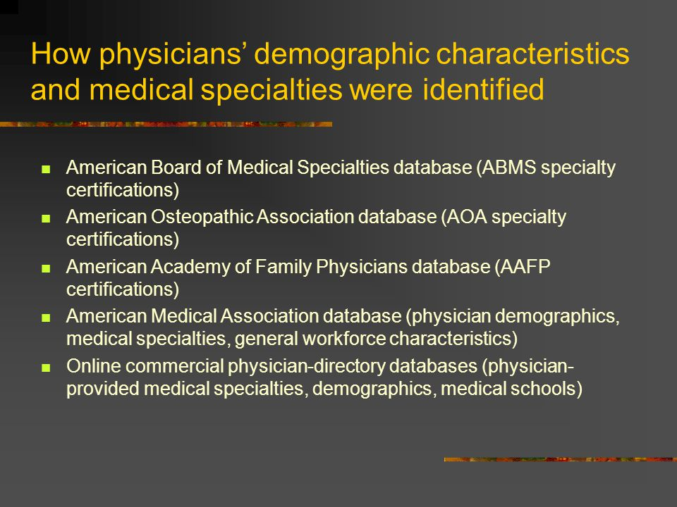 How physicians' demographic characteristics and medical specialties were identified