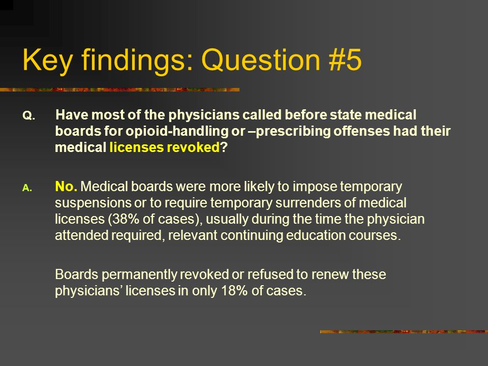 Key findings: Question #5