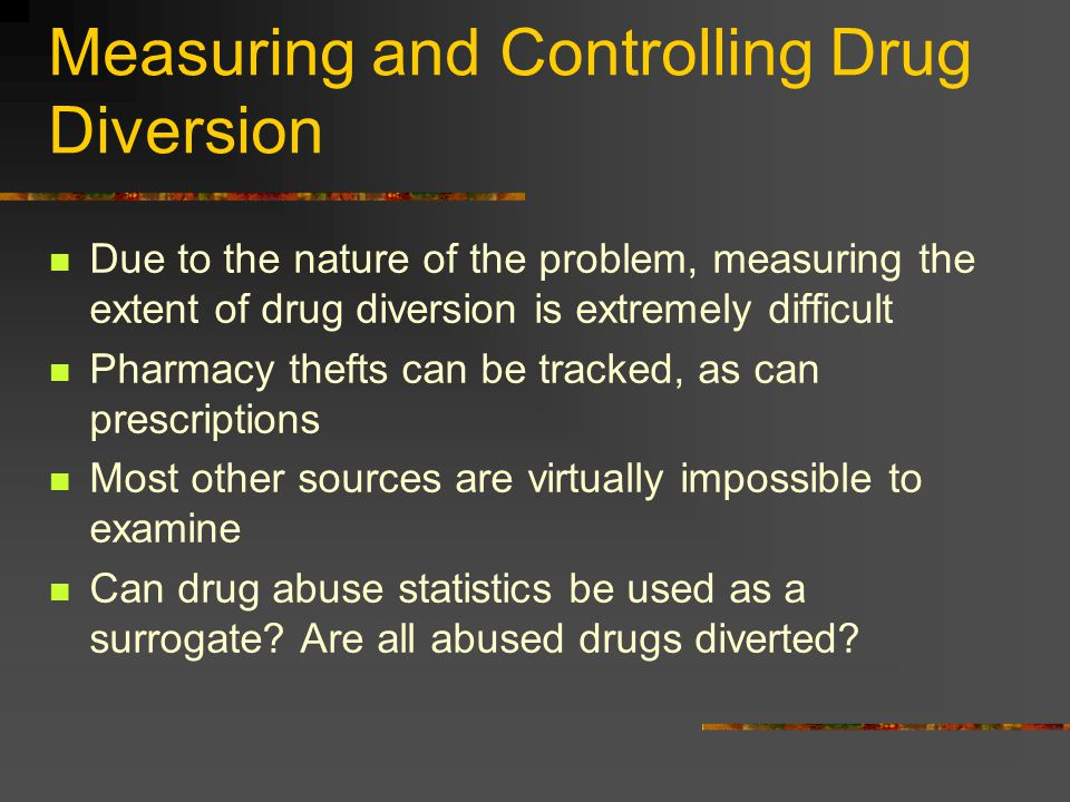 Measuring and Controlling Drug Diversion