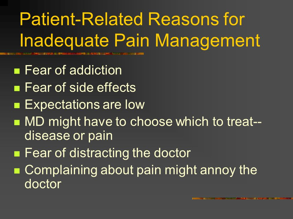 Patient-Related Reasons for Inadequate Pain Management