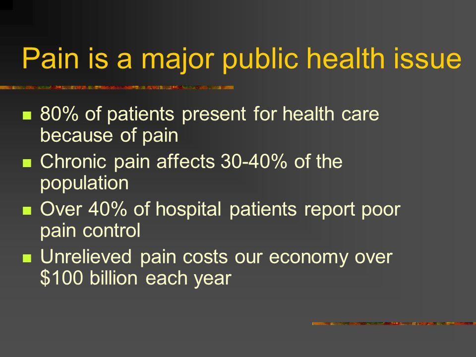 Pain is a major public health issue