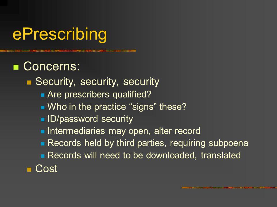 ePrescribing Concerns: Security, security, security Cost