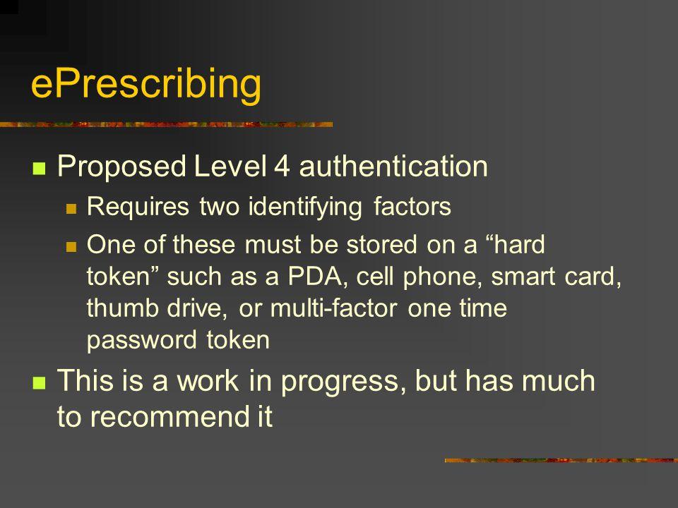 ePrescribing Proposed Level 4 authentication