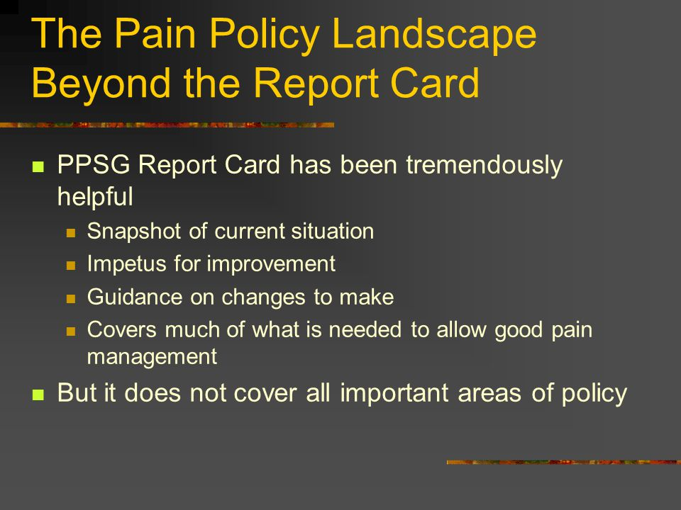 The Pain Policy Landscape Beyond the Report Card