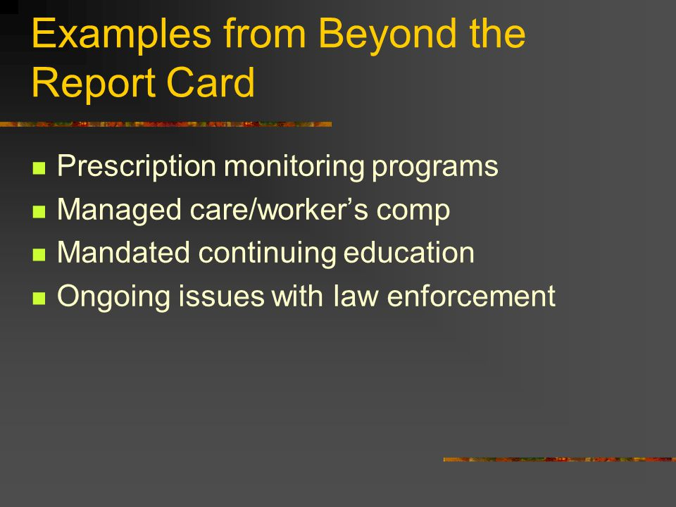 Examples from Beyond the Report Card