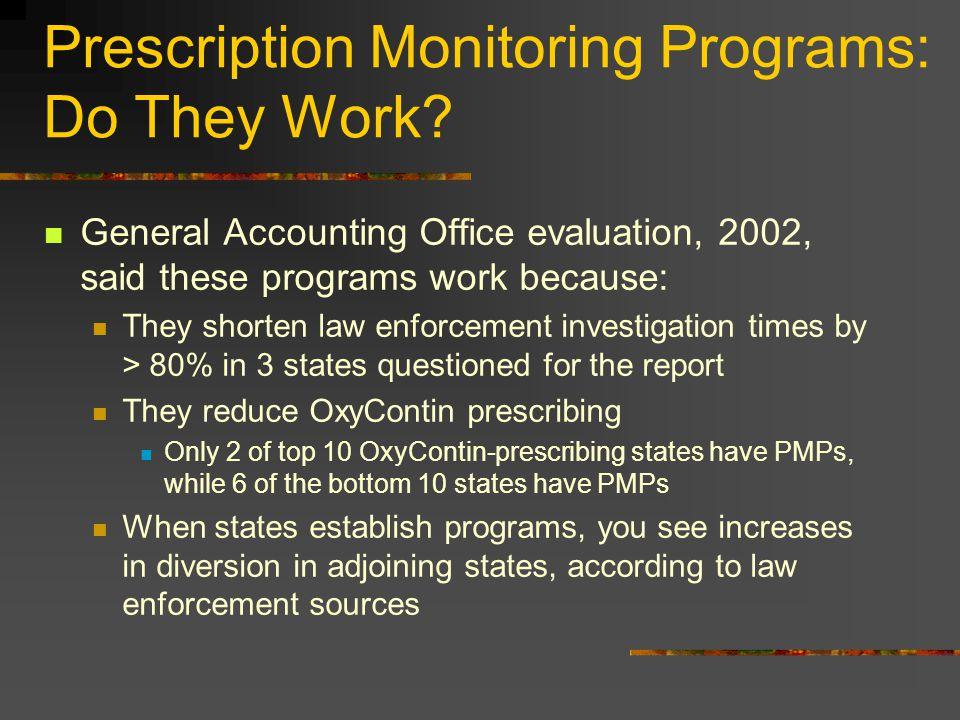 Prescription Monitoring Programs: Do They Work