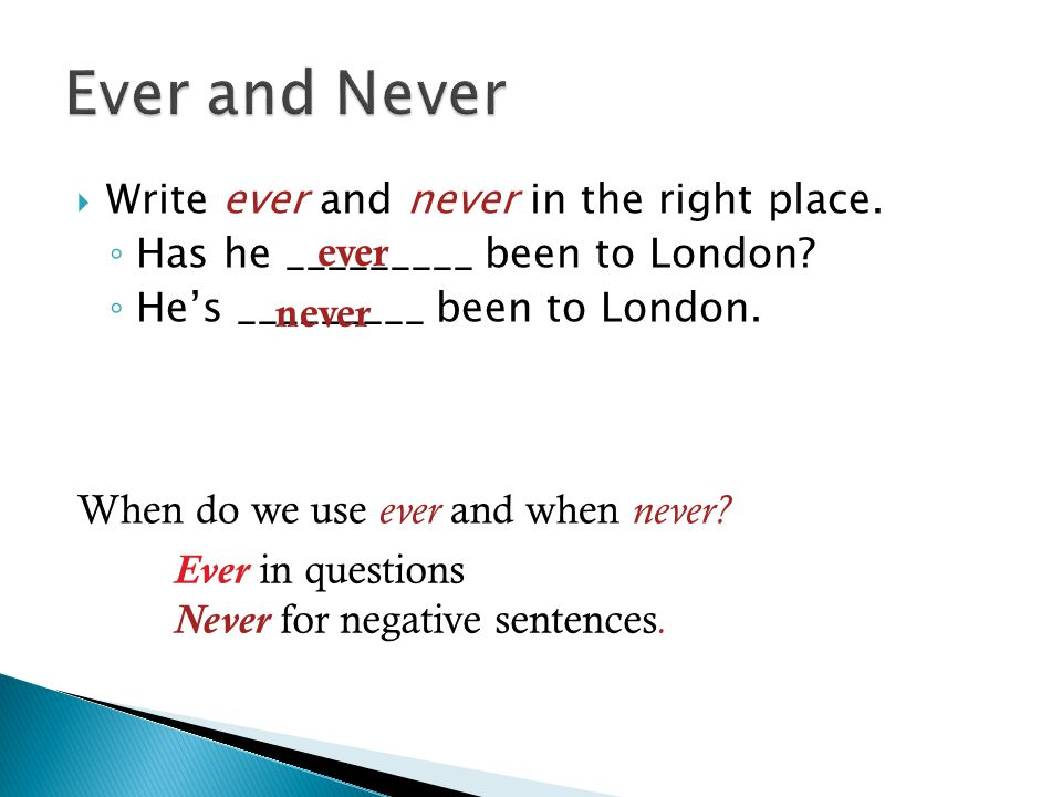 Ever and Never Write ever and never in the right place.