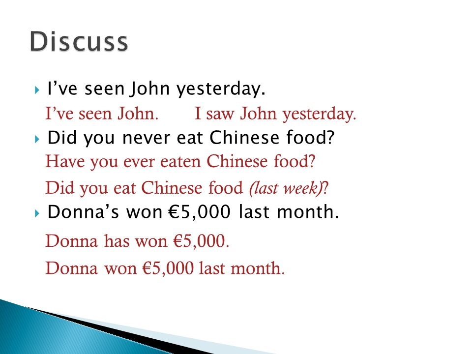 Discuss I've seen John yesterday. Did you never eat Chinese food