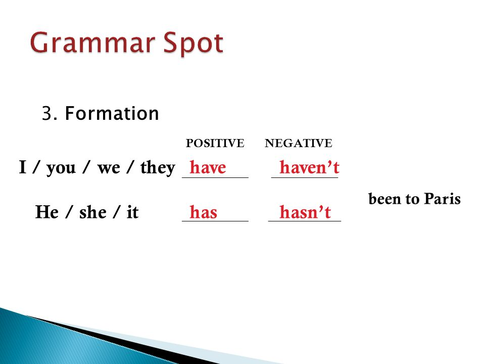 Grammar Spot 3. Formation I / you / we / they have haven't