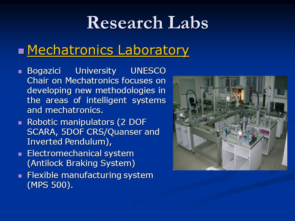 Research Labs Mechatronics Laboratory