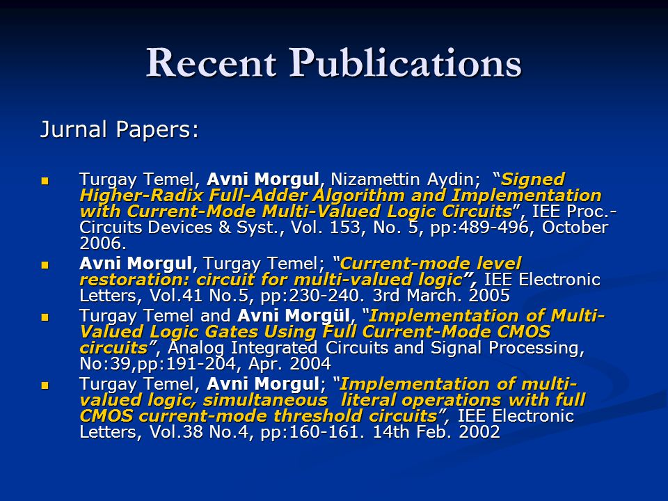 Recent Publications Jurnal Papers: