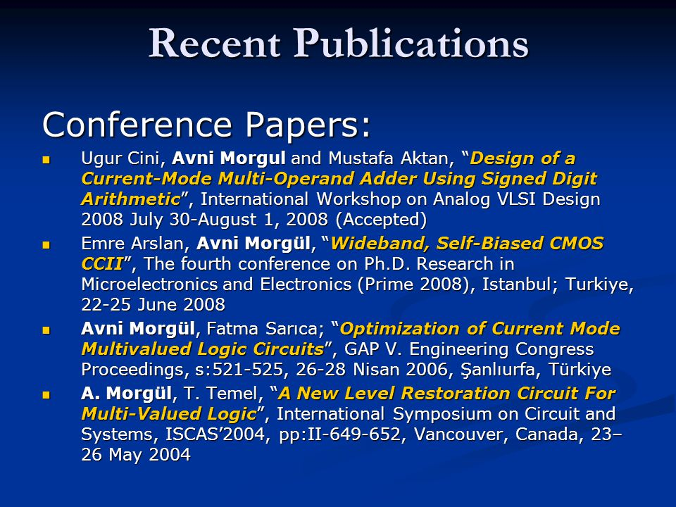 Recent Publications Conference Papers: