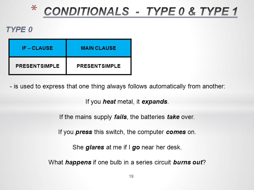 CONDITIONALS - TYPE 0 & TYPE 1