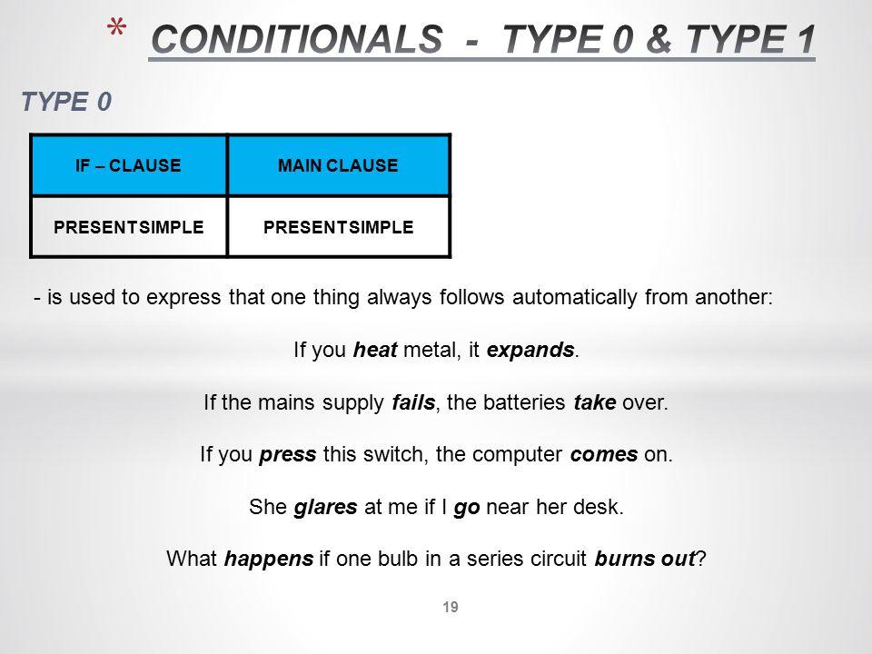 CONDITIONALS - TYPE 0 & TYPE 1