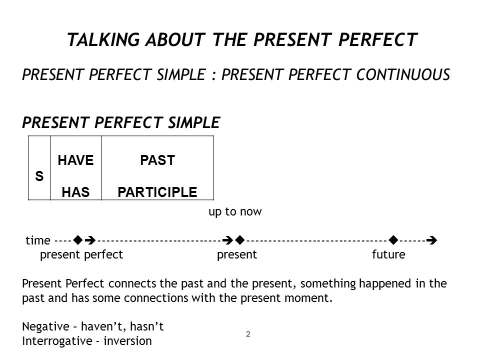 TALKING ABOUT THE PRESENT PERFECT