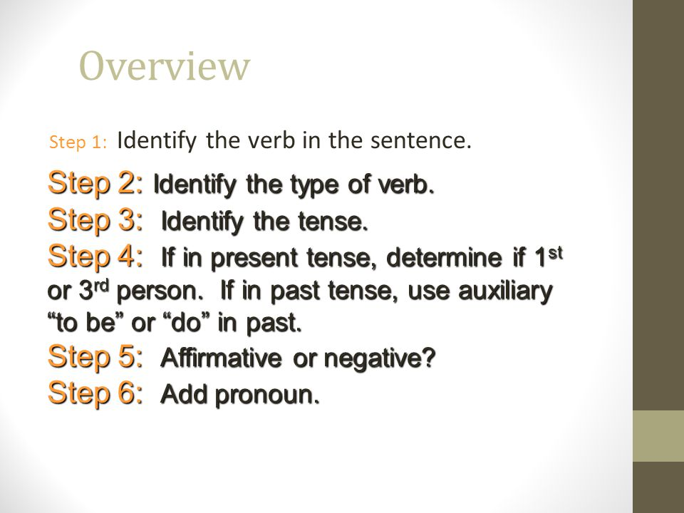 Overview Step 2: Identify the type of verb.