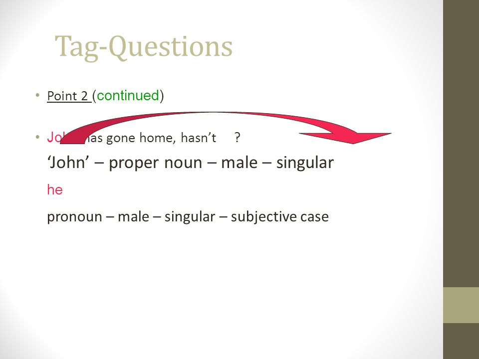 Tag-Questions he pronoun – male – singular – subjective case