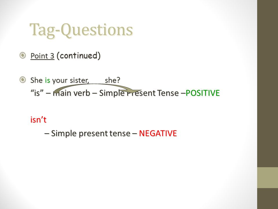 Tag-Questions isn't – Simple present tense – NEGATIVE