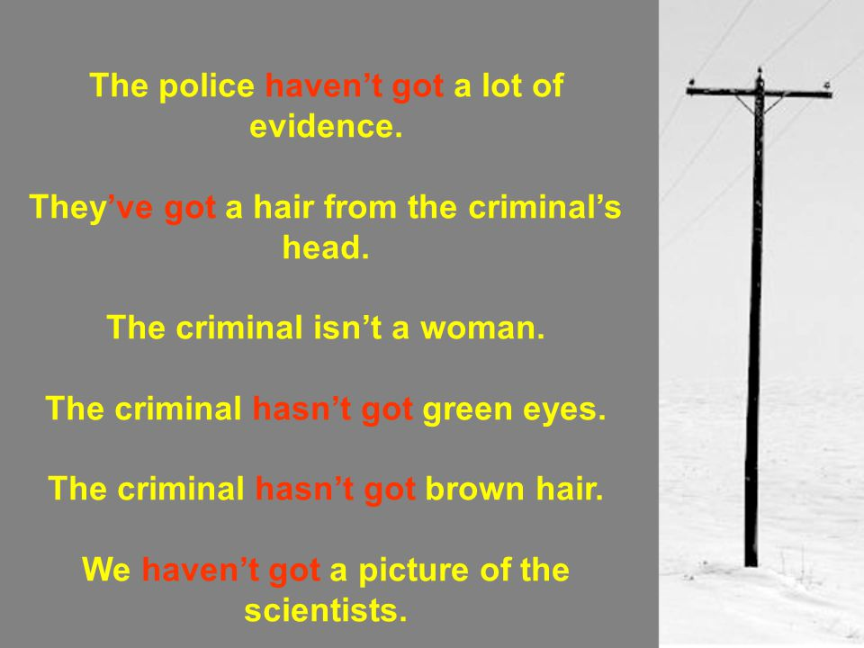 The police haven't got a lot of evidence.