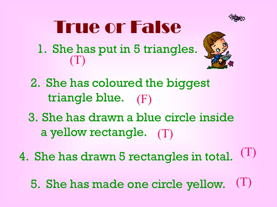 True or False 1. She has put in 5 triangles. (T)
