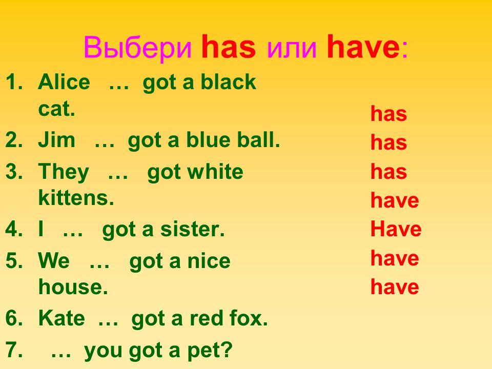 Выбери has или have: Alice … got a black cat. has