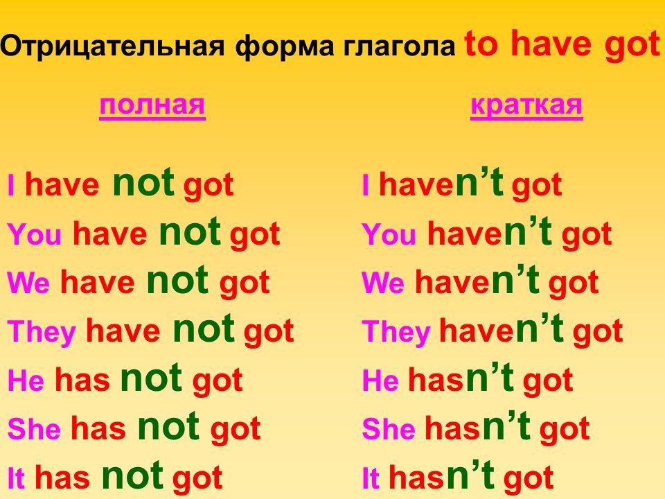 Отрицательная форма глагола to have got