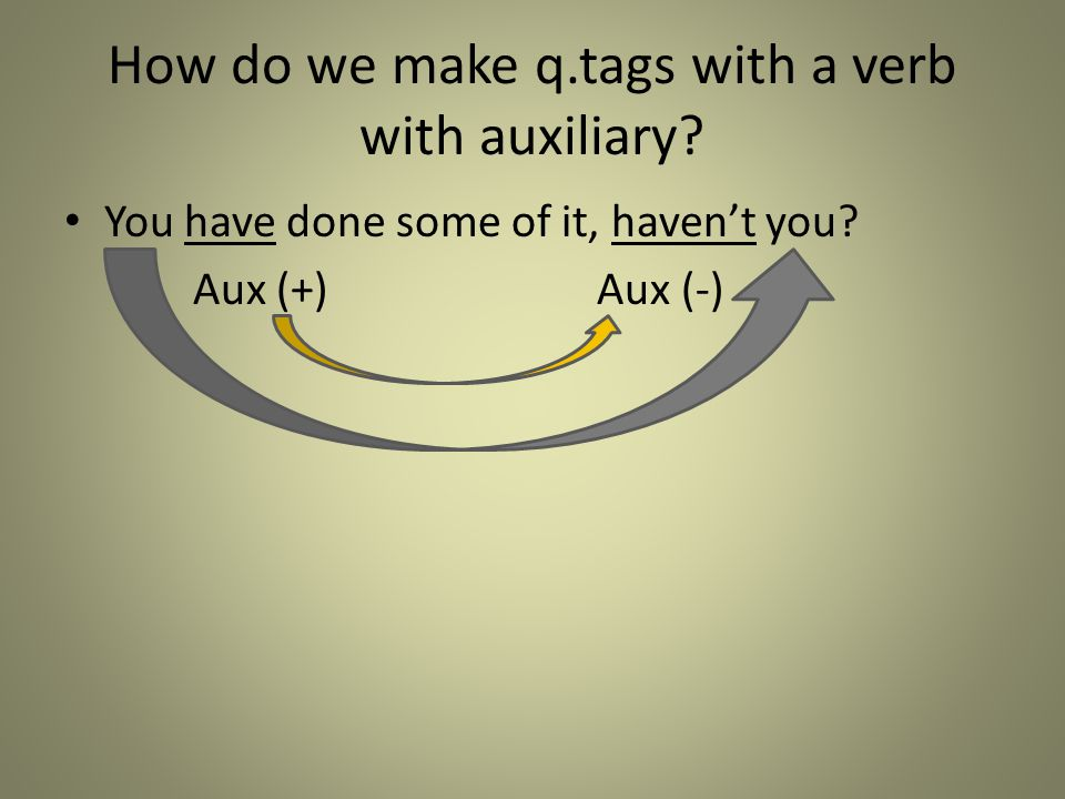 How do we make q.tags with a verb with auxiliary