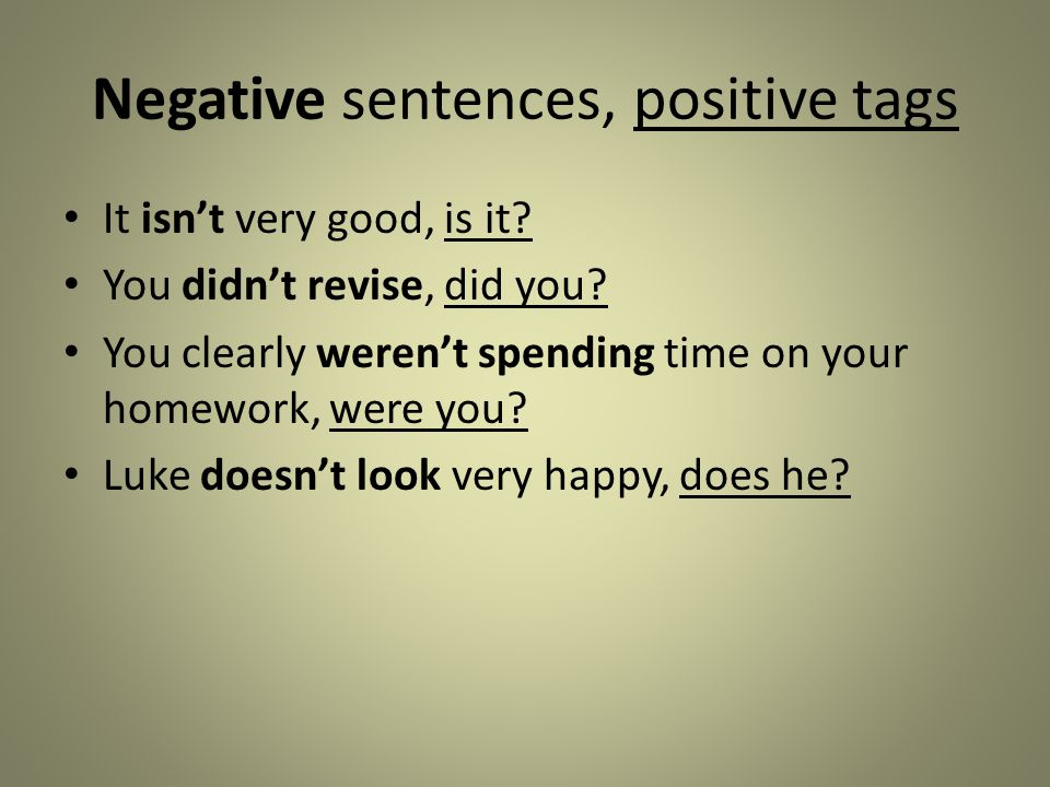 Negative sentences, positive tags