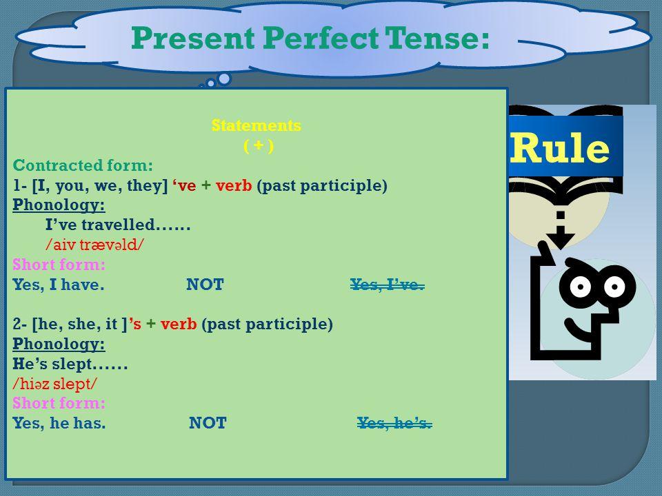 Present Perfect Tense: