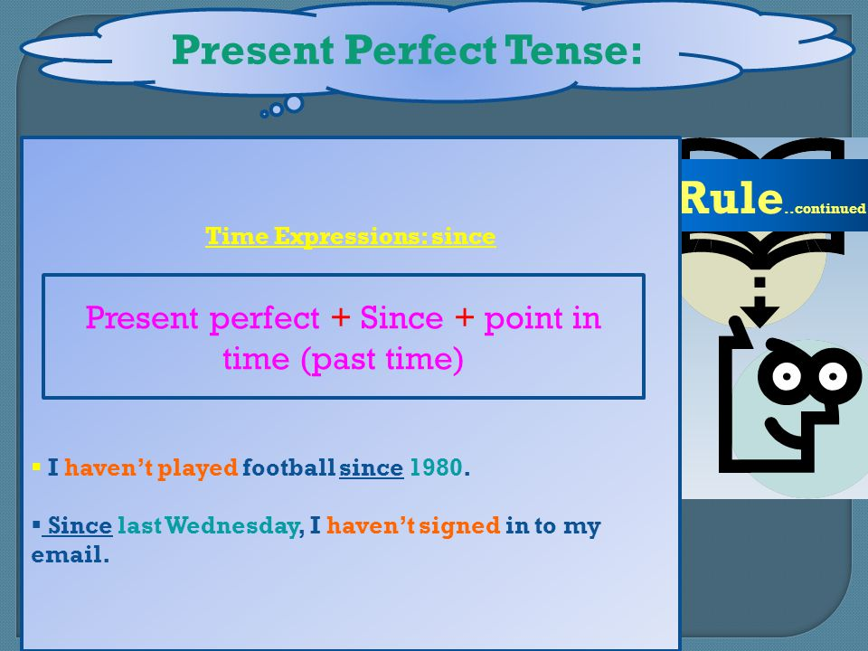 Present Perfect Tense: Time Expressions: since