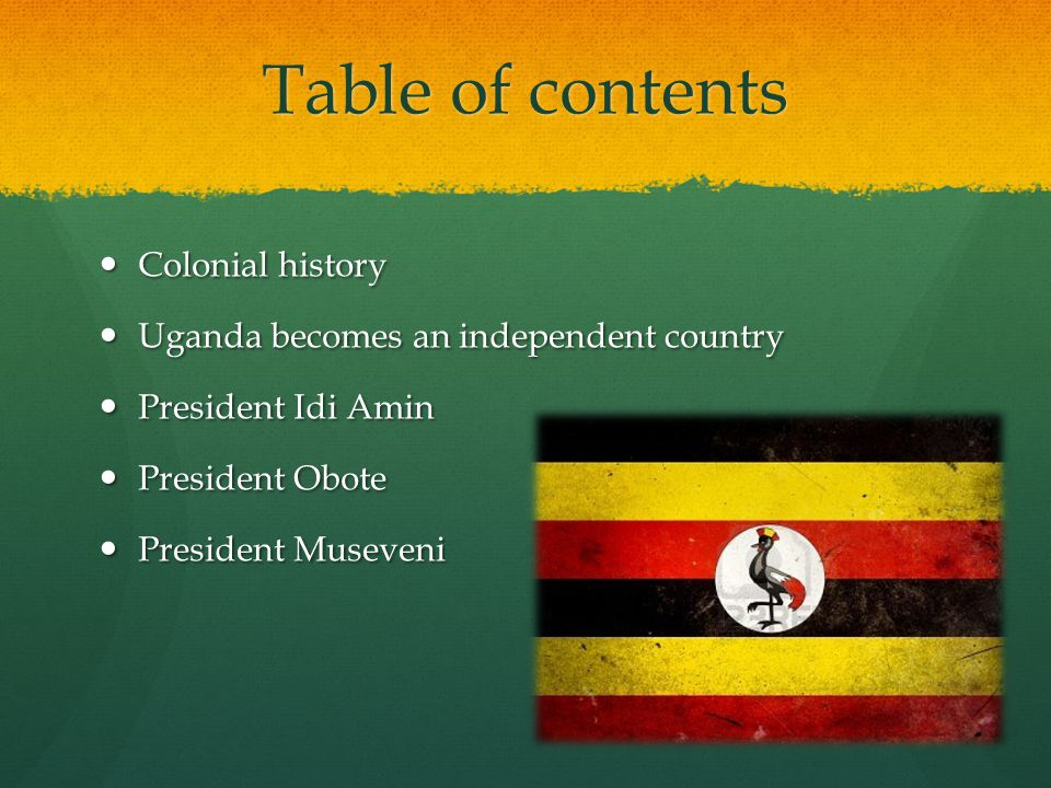 Table of contents Colonial history