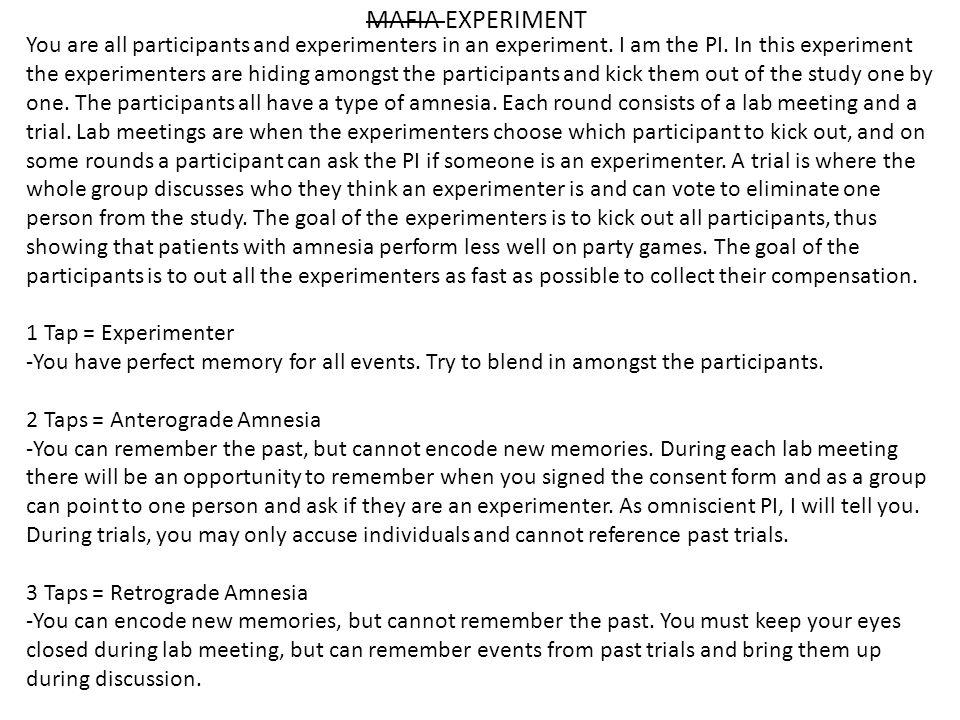 MAFIA EXPERIMENT