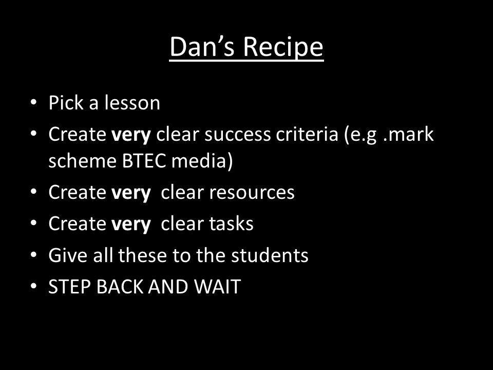 Dan's Recipe Pick a lesson