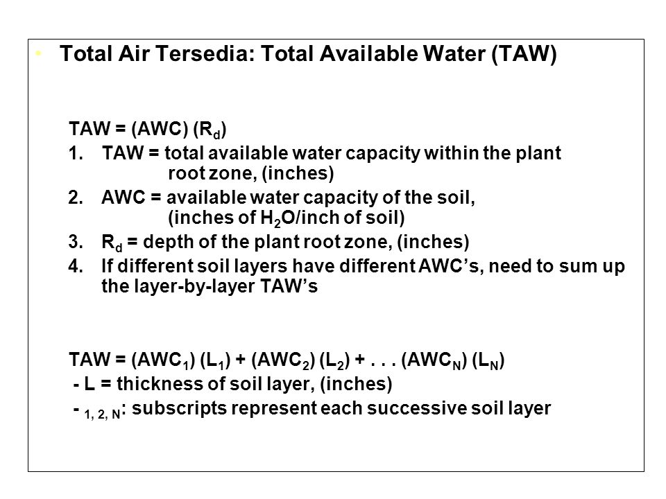 Total Air Tersedia: Total Available Water (TAW)