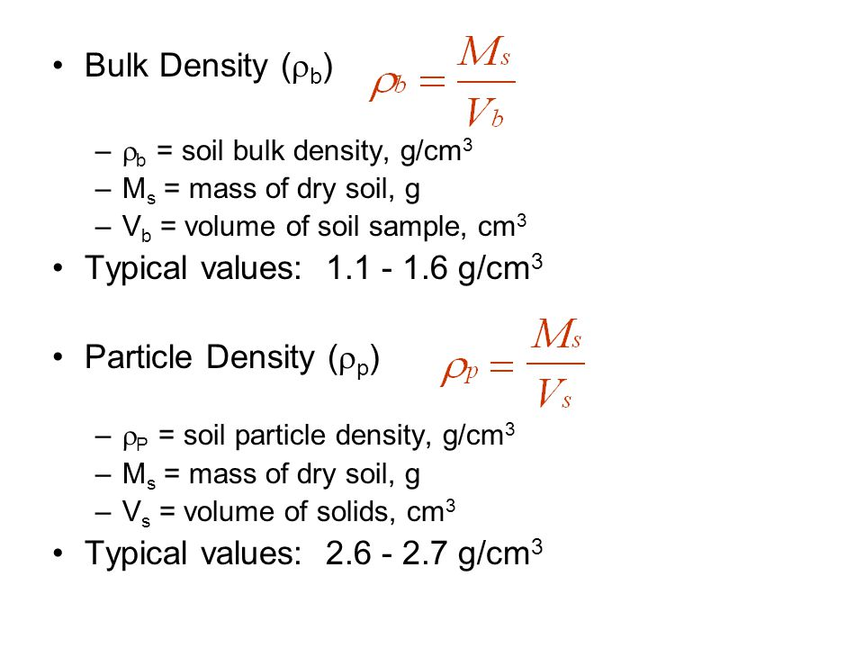Bulk Density (b) Typical values: 1.1 - 1.6 g/cm3
