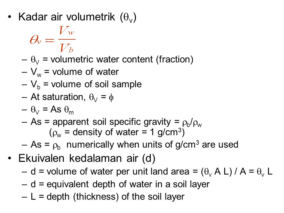 Kadar air volumetrik (v)