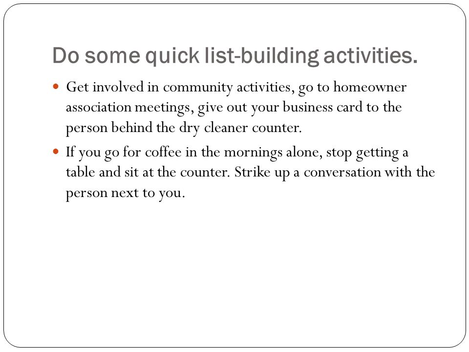 Do some quick list-building activities.