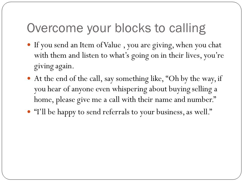 Overcome your blocks to calling
