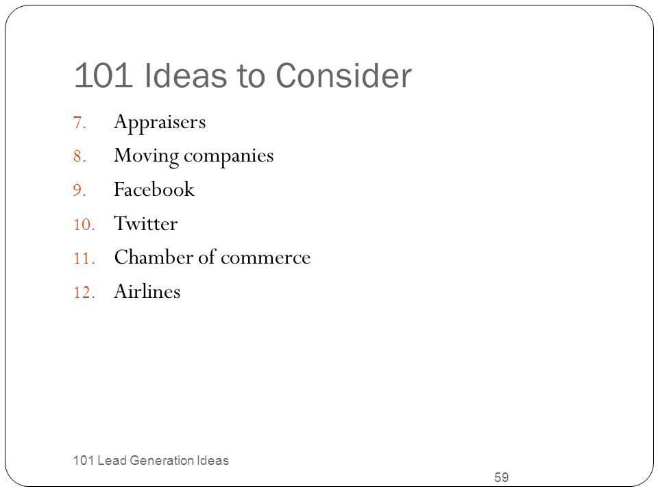 101 Ideas to Consider Appraisers Moving companies Facebook Twitter