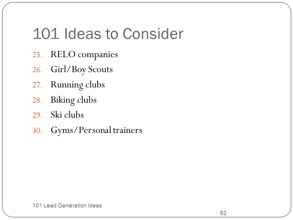 101 Ideas to Consider RELO companies Girl/Boy Scouts Running clubs