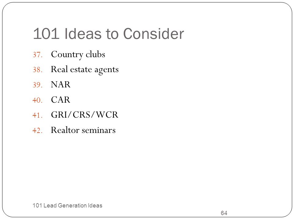 101 Ideas to Consider Country clubs Real estate agents NAR CAR