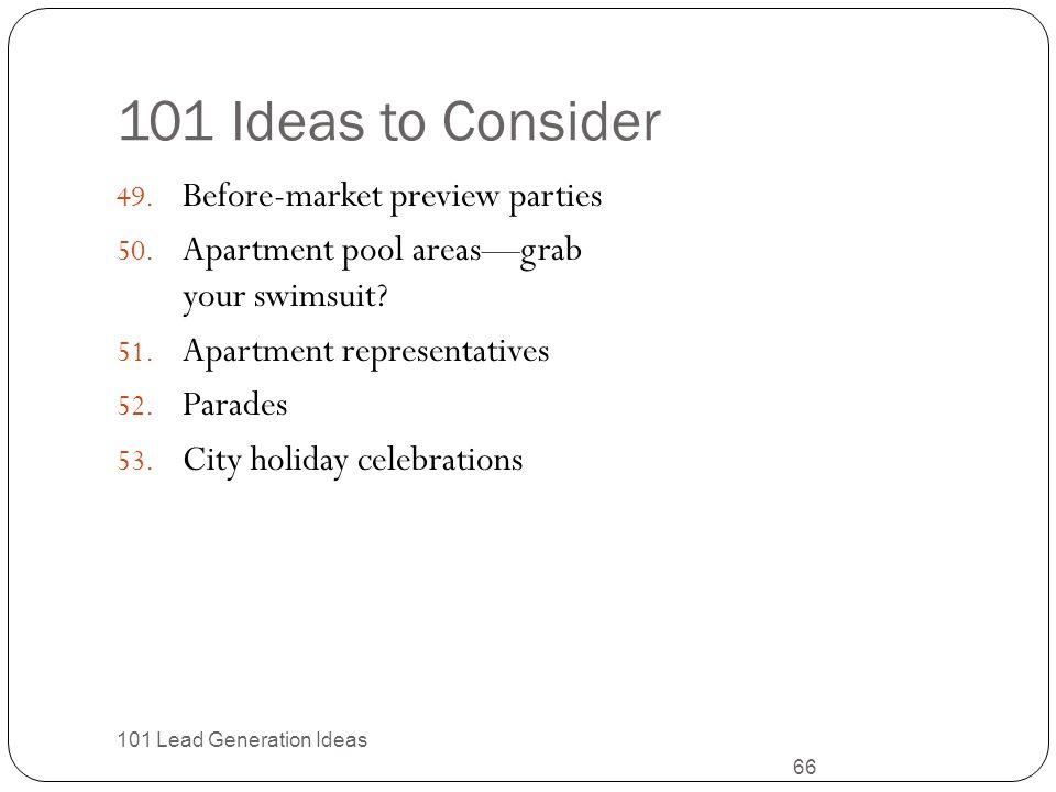 101 Ideas to Consider Before-market preview parties