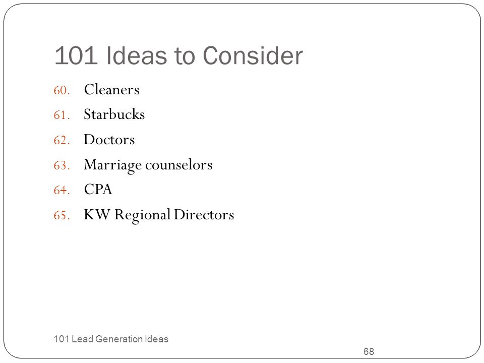 101 Ideas to Consider Cleaners Starbucks Doctors Marriage counselors