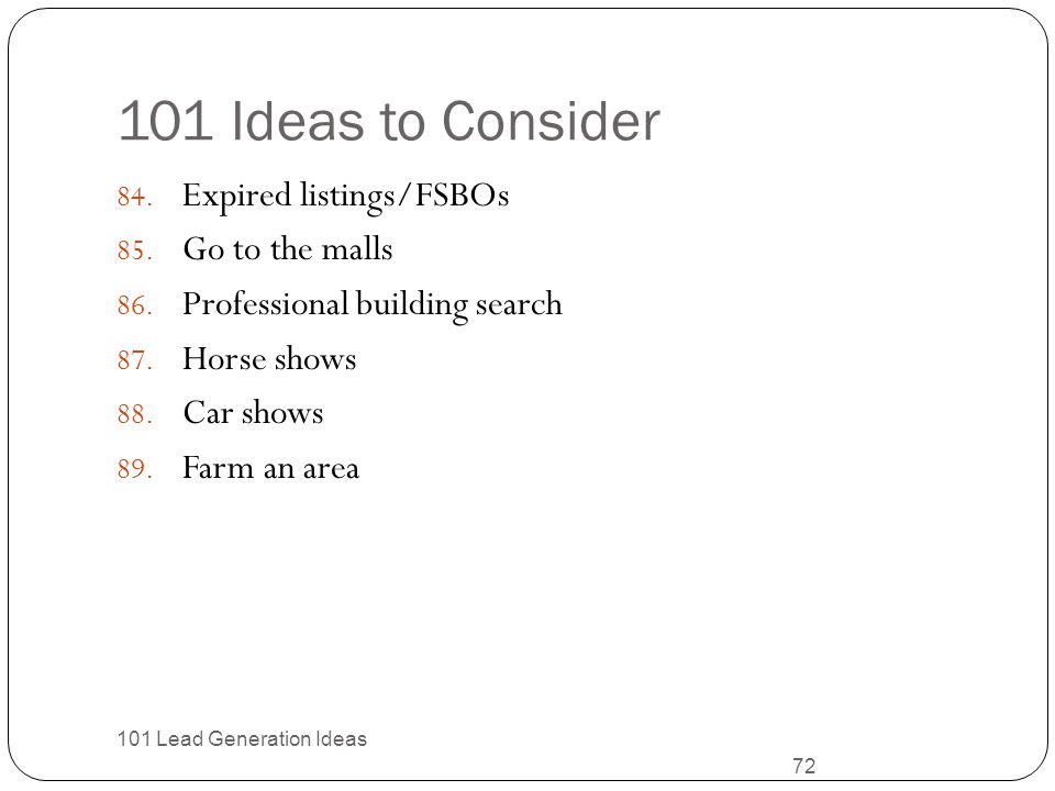 101 Ideas to Consider Expired listings/FSBOs Go to the malls